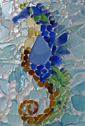 Seahorse Glass Art Metal Prints - Sea Horse 1 Metal Print by Anne Marie Brown