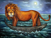 Sea Moon Full Moon Painting Metal Prints - Sea Lion bolder image Metal Print by Leah Saulnier The Painting Maniac