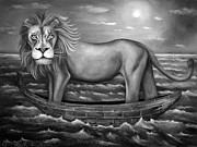 Sea Moon Full Moon Painting Metal Prints - Sea Lion in bw Metal Print by Leah Saulnier The Painting Maniac