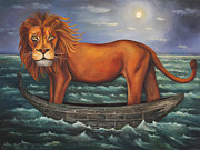 Sea Moon Full Moon Painting Metal Prints - Sea Lion softer image Metal Print by Leah Saulnier The Painting Maniac