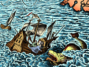 Sea Monster Attacking Ship, 1583 Print by Science Source