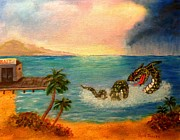 Water Dragon Painting Framed Prints - Sea Monster looking for Bait Framed Print by Janis  Tafoya