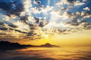 Panoramic Framed Prints - Sea of clouds on sunrise with ray lighting Framed Print by Setsiri Silapasuwanchai