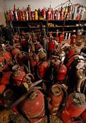Fire Department Photos - Sea of Fire Extinguishers by Amy Cicconi