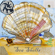 Sea Shell Art Mixed Media Prints - Sea Shells Print by Katia Von Kral