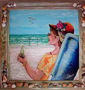 Lawn Chair Posters - Sea Side Poster by JoAnn Harper