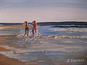 Stella Sherman Art - Sea Splashing on the Beach by Stella Sherman