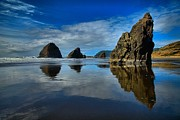 Reflections In River Metal Prints - Sea Stack Blues Metal Print by Adam Jewell