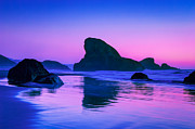 Light Fuchsia Prints - Sea Stacks on the Oregon Coast Print by Rich Leighton