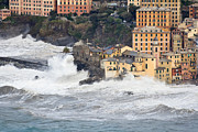 Flooding Photos - Sea storm in Camogli by Antonio Scarpi