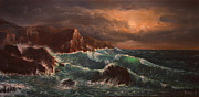 Sunrise Over Water Paintings - Sea Storm by Radoslav Nedelchev
