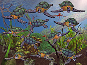 Fantasy Creatures Prints - Sea Travelers  Print by Betsy A Cutler East Coast Barrier Islands