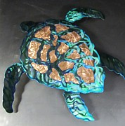 Turtle Sculpture Posters - Sea Turtle abstract wall sculpture  Poster by Robert Blackwell