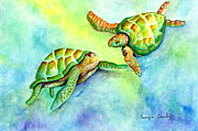 Hawaii Sea Turtle Paintings - Sea Turtle Courtship by Tamyra Crossley
