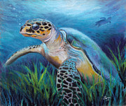 Sea Creatures Posters - Sea Turtle Cove Poster by Susan Jenkins