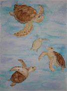 Sea Turtles Painting Metal Prints - Sea Turtle Family Metal Print by Carol Fielding