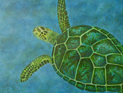 Ocean Turtle Paintings - Sea Turtle by Julie Neuman