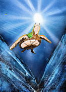 Sun Rays Mixed Media Metal Prints - Sea Turtle Metal Print by Just Joszie