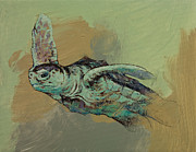 Green Sea Turtle Painting Metal Prints - Sea Turtle Metal Print by Michael Creese