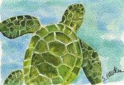 Green Sea Turtle Painting Framed Prints - Sea Turtle Framed Print by Sheryl Heatherly Hawkins