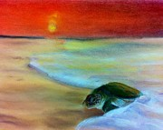 Turtle Pastels Acrylic Prints - Sea turtle Acrylic Print by Tiffany Albright