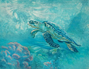 Hawaii Sea Turtle Paintings - Sea Turtle by Vicky Russell