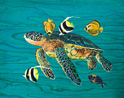 Hawaii Sea Turtle Paintings - Sea Turtle with Fish by Emily Brantley