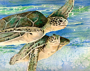 Sea Turtles Painting Metal Prints - Sea Turtles Metal Print by Aprille Lipton