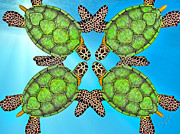 Reptiles Digital Art Metal Prints - Sea Turtles Metal Print by Betsy A Cutler East Coast Barrier Islands