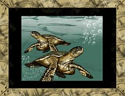 Awsome Posters - Sea Turtles Poster by Karen Sheltrown