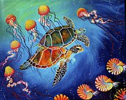 Sea Turtles Painting Originals - Sea Turtles by Sherri Carroll
