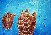 Baby Sea Turtle Paintings - Sea Turtles Swimming Towards the Light Together by Ashleigh Dyan Moore