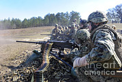 Firing Range Prints - Seabees Fire The M2 .50-caliber Machine Print by Stocktrek Images