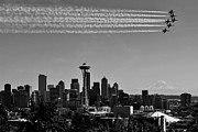 Seattle Skyline Framed Prints - Seafair Blues in Black and White Framed Print by Benjamin Yeager