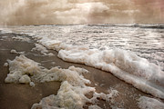 Topsail Island Photos - Seafoam  by Betsy A Cutler East Coast Barrier Islands