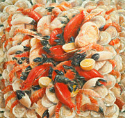 Kitchen Decor Framed Prints - Seafood Extravaganza Framed Print by Lincoln Seligman