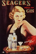 Nineteen Thirties Drawings Posters - Seagers 1930s Uk Glamour Gin  Cocktails Poster by The Advertising Archives