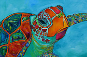 Sea Turtle Paintings - Seaglass Sea Turtle by Patti Schermerhorn