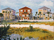 Panama City Beach Painting Framed Prints - Seagrove Beach Houses Framed Print by Jeanne Forsythe