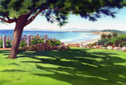 Pine Trees Paintings - Seagrove Park Del Mar by Mary Helmreich