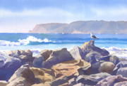 Coronado Art - Seagull and Point Loma by Mary Helmreich