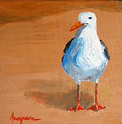 Design Paintings - Seagull - beach bird by Patricia Awapara