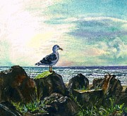 Salt Air Paintings - Seagull Lookout by Cynthia Pride