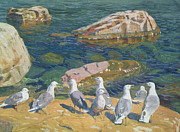 Seagull Paintings - Seagulls by Arkadij Aleksandrovic Rylov