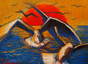 Mona Edulescu Pastels - Seagulls At Sunset by EMONA Art