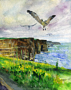 Sea Birds Posters - Seagulls at the Cliffs of Moher Portrait Poster by John D Benson