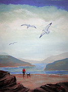 Dog Walking Drawings Prints - Seagulls Print by Carol Hart
