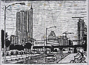 Block Print Drawings - Seaholm on Map by William Cauthern