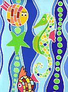 Retro Paintings - Seahorse and Fish by Lynnda Rakos