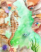 Jellyfish Drawings Framed Prints - Seahorse Cave Framed Print by Tamyra Crossley